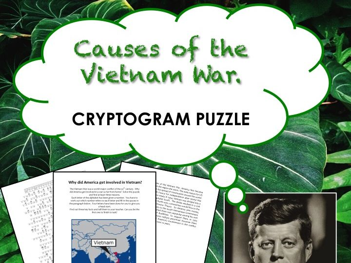 What were the causes of the Vietnam War?  Cryptogram Puzzle