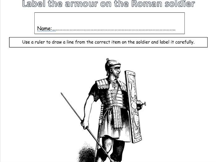 KS1 & 2 Ancient Romans. Set of 5 worksheets. Label the armour on the Roman soldier, Label the clothe