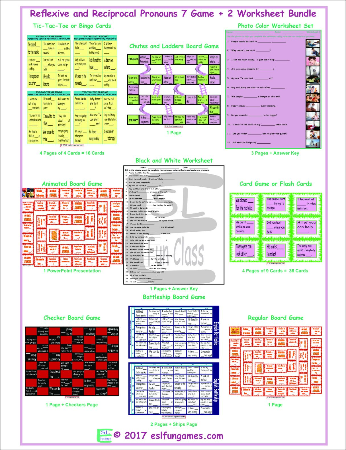 Reflexive and Reciprocal Pronouns 7 Game Plus 2 Worksheet Bundle