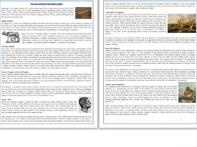 The Rise and Fall of The Roman Empire - Informational Text Reading & Comprehension Exercises