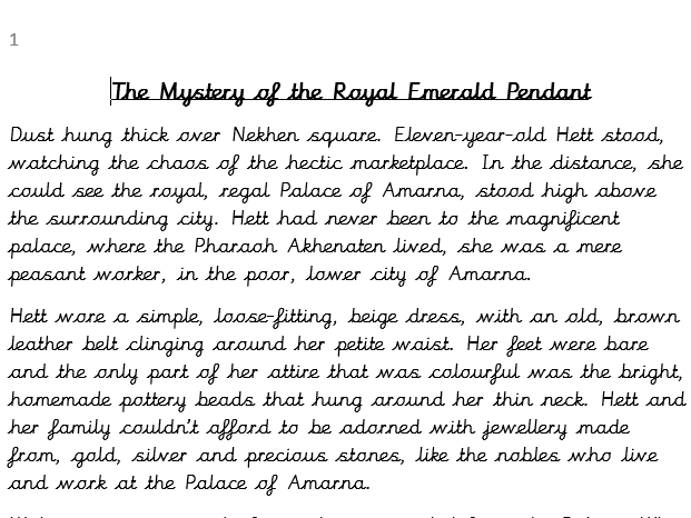 Ancient Egyptian Adventure Story
