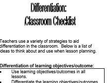 Differentiation Bookmark/ Checklist