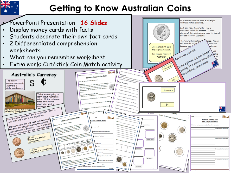 Australian Coins: Presentation  Lesson, Non Fiction Reading Comprehension,  Worksheets, Video