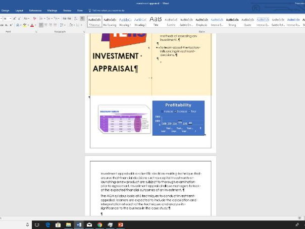 Investment Appraisal Revision notes and workbook