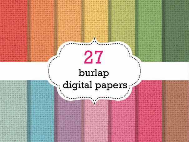 27 Burlap Digital Papers Scrapbook Papers, Burlap Background Papers
