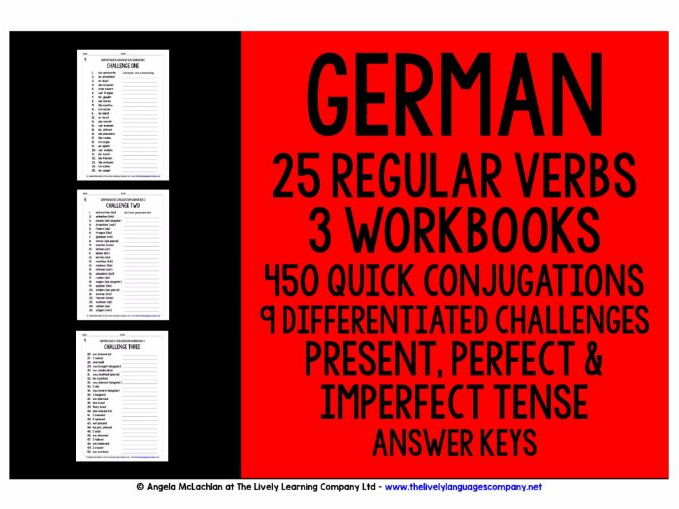 GERMAN REGULAR VERBS CONJUGATION - PRESENT, PERFECT & IMPERFECT TENSE - WORKBOOKS WITH ANSWER KEYS