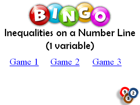 BINGO: Inequalities _Number Line_1 variable