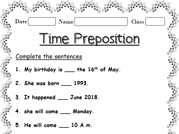 Time Preposition Worksheets Teaching Resources