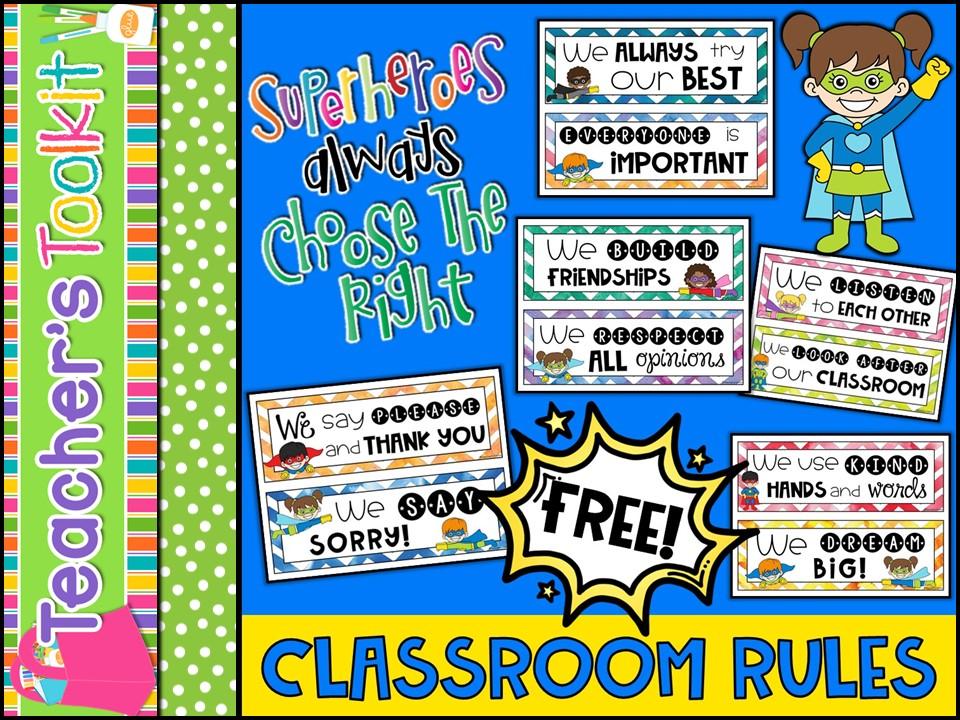 {Freebie} Superhero Classroom Rules