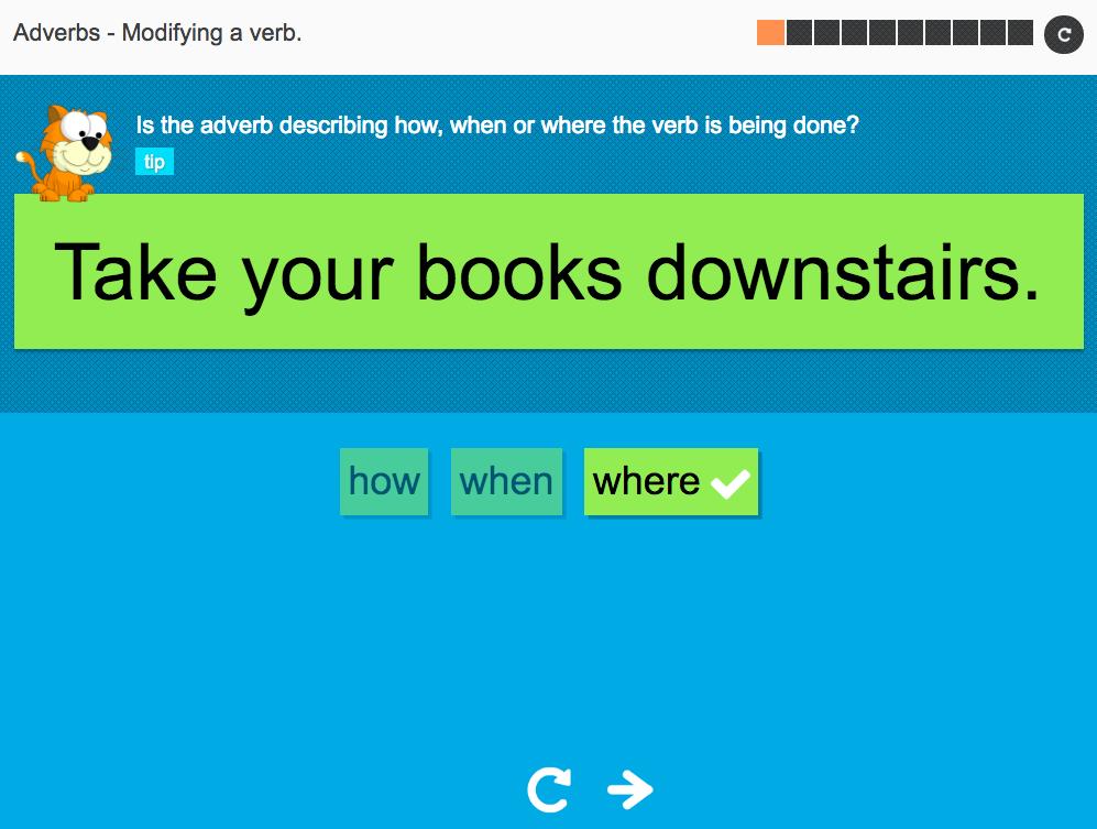Modifying a verb - Interactive Activity - KS3 Spag