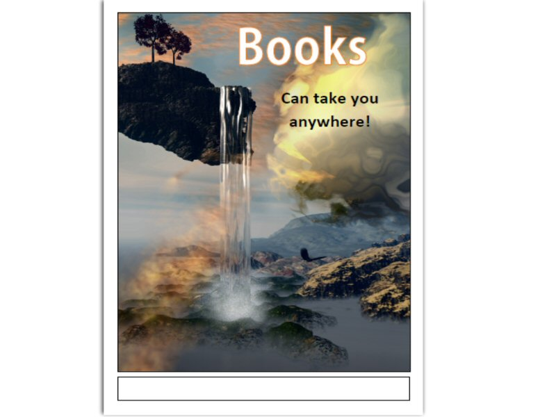 Book Fair Poster in A3 pdf format - Fantasy Waterfall Theme
