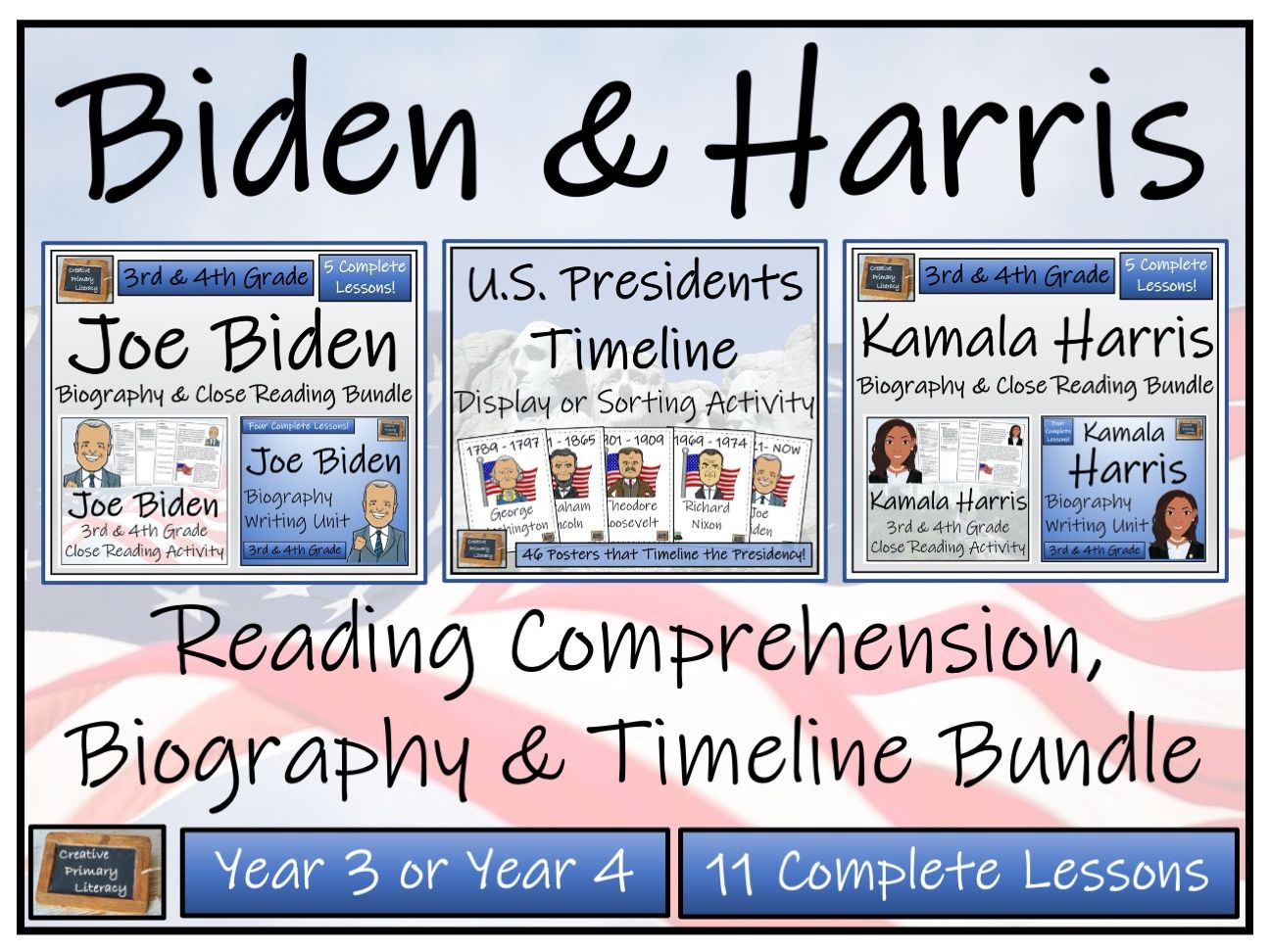 LKS2 Biden & Harris - Reading Comprehension, Biography & Timeline Bundle