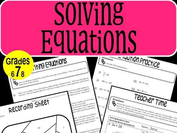 Solving Equations Math Stations