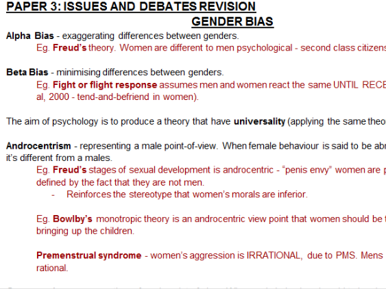 PSYCHOLOGY ISSUES AND DEBATES REVISION