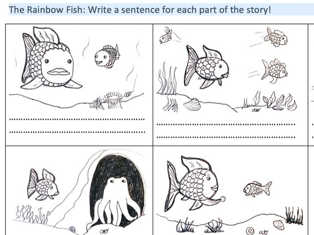 Rainbow Fish sequencing, missing words descriptive writing KS1 and Kindergarten