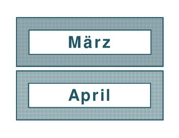 Calendar headings teal diamonds in German