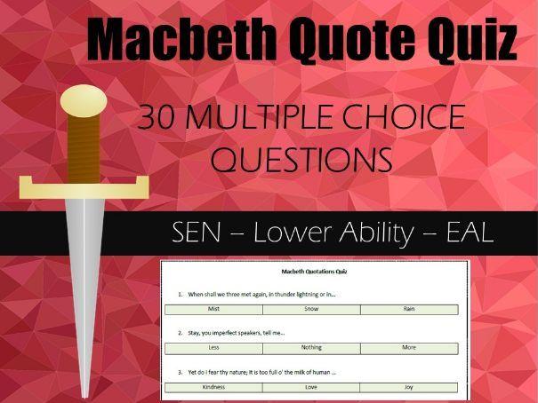 Macbeth Quote Quiz - Revision