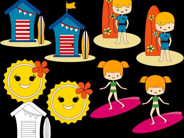 Spot the difference clipart - Summer Surfs Up