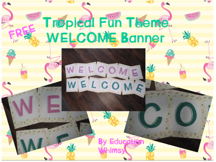 Tropical Fun Themed Free Welcome Banners