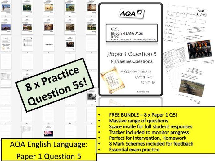 Free Booklet - 8 x AQA Language Paper 1 Question 5
