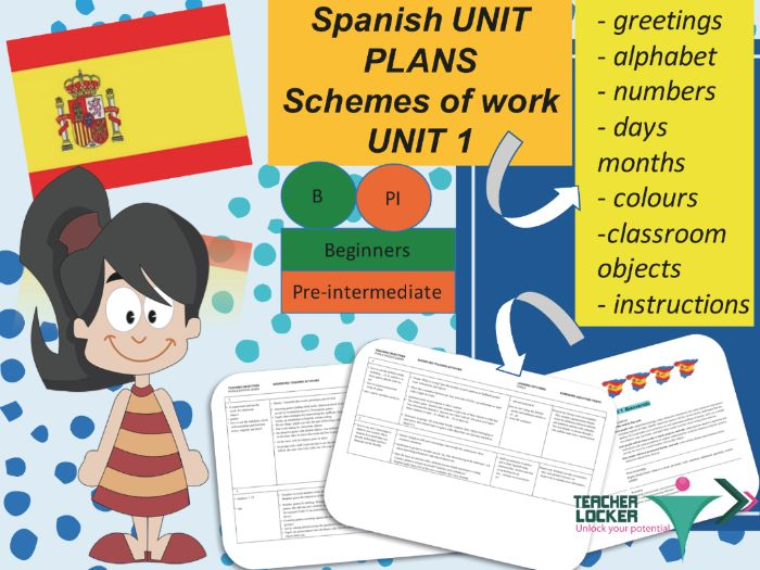 Spanish Unit plans for beginners / Pre-intermediate - 6 to 7 weeks of teaching - Unit 1 Bienvenidos