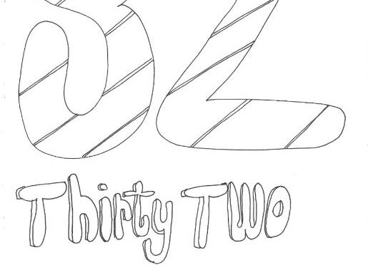 Thirty Two: Numbers (with word): Colouring Page