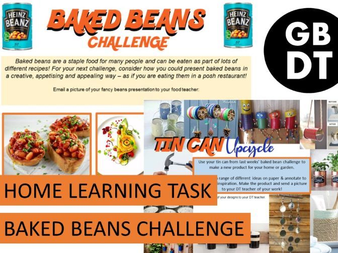 FREE HOME LEARNING RESOURCE - DT BAKED BEAN / UPCYCLE CHALLENGE