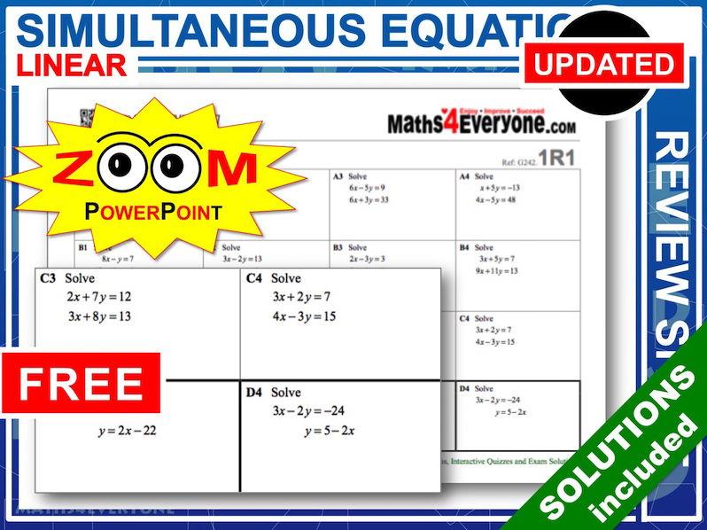 GCSE Revision (Simultaneous Equations)