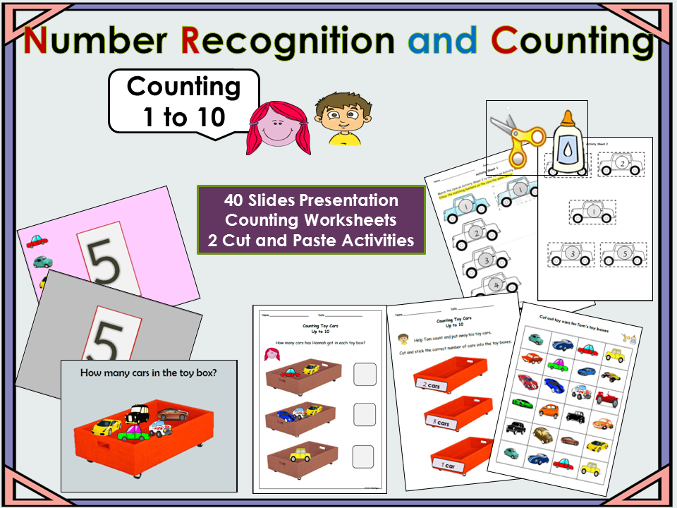 Counting Presentation numbers 1 to 10,  2 Cut and Paste Activities, Worksheets