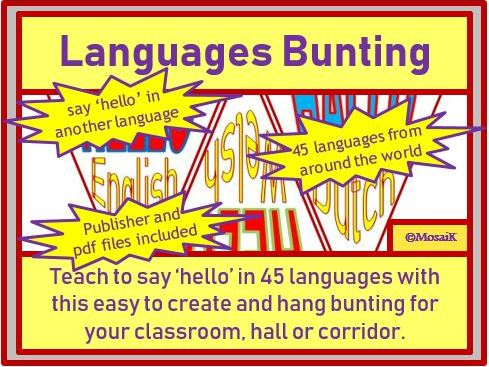 World Hello Day, Mother Tongue Day, European Day of Languages - 'Hello' Bunting
