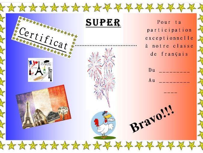 General French certificate 12/ Certificat de francais 12
