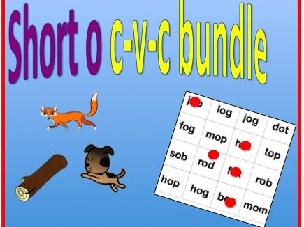 Short o cvc bundle - worksheet and bingo game