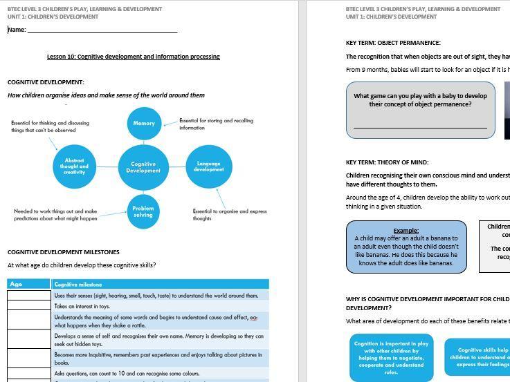 Cognitive Development lesson handout (CPLD L3 Unit 1)