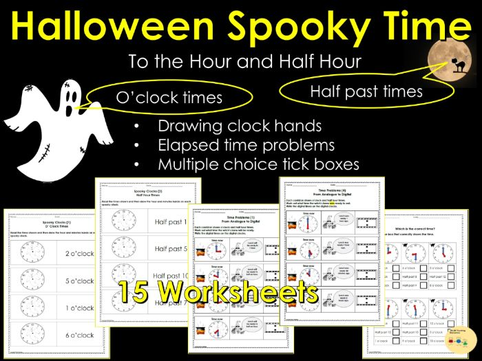 Halloween Telling the Time: To The Hour and Half Hour, Elapsed Time, Reading /Writing Clock Times