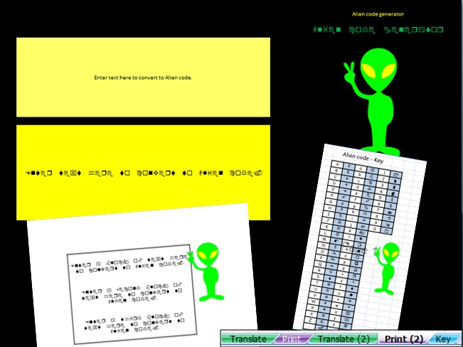 Alien Code message generator tool - printable output
