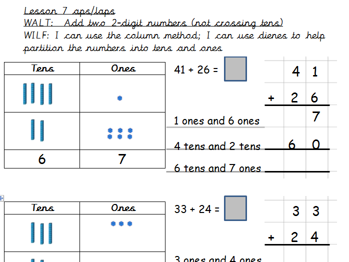 Year 2 Block 2 Addition and Subtraction White Rose Planning and Resources Weeks 1-5 Whole unit