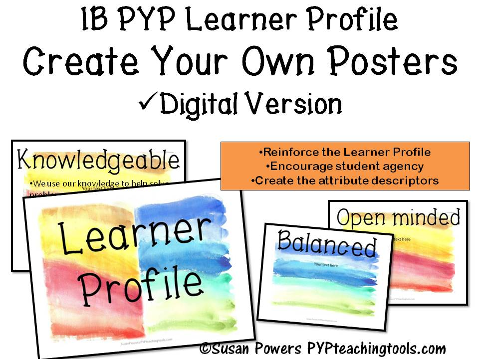 Create Your Own IB PYP Learner Profile Posters Watercolour Digital Edition