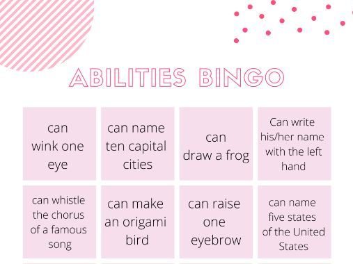 abilities bingo, can can't activity