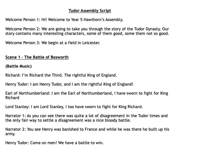Tudor Assembly Play Script KS2