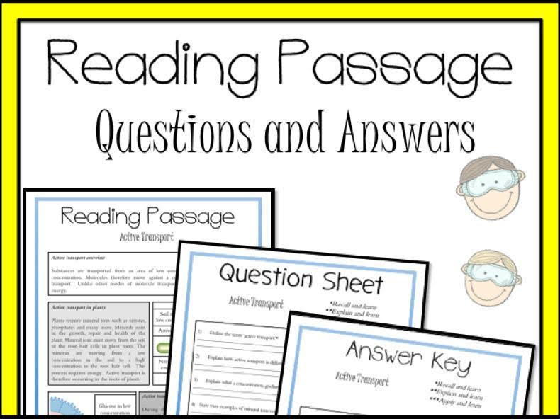 Active Transport Reading Passage