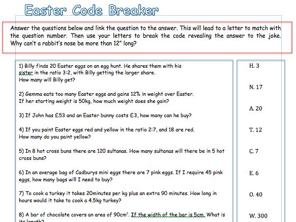 Easter themed code cracker