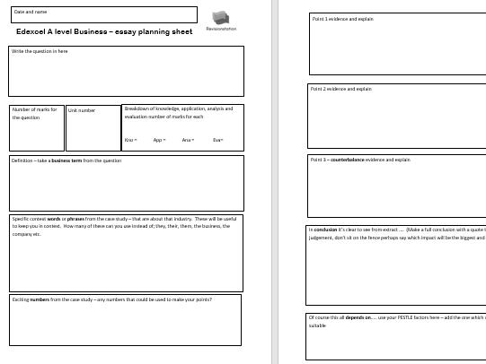A Level Business Essay planning sheet