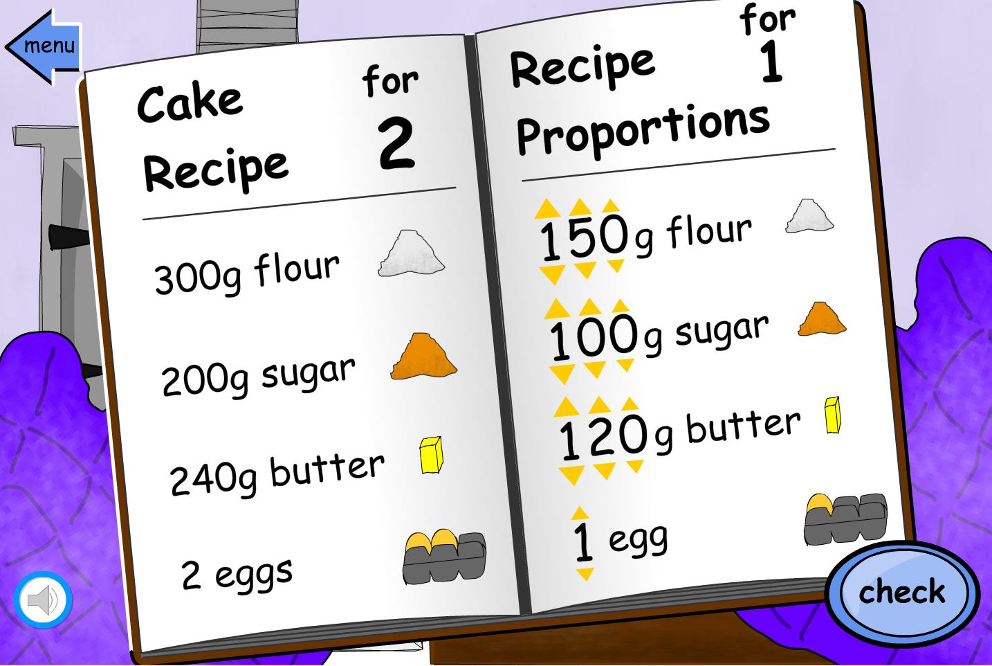 Recipe Proportions Scale Down - Interactive Activity - KS2 Measurement