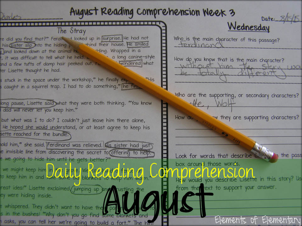 August Daily Reading Comprehension