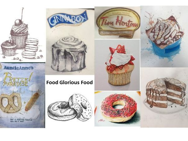 """Food Glorious Food"" Art project suitable for home learning for Year 9 or GCSE"
