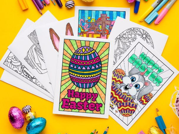 Easter Coloring Cards (set of 10)