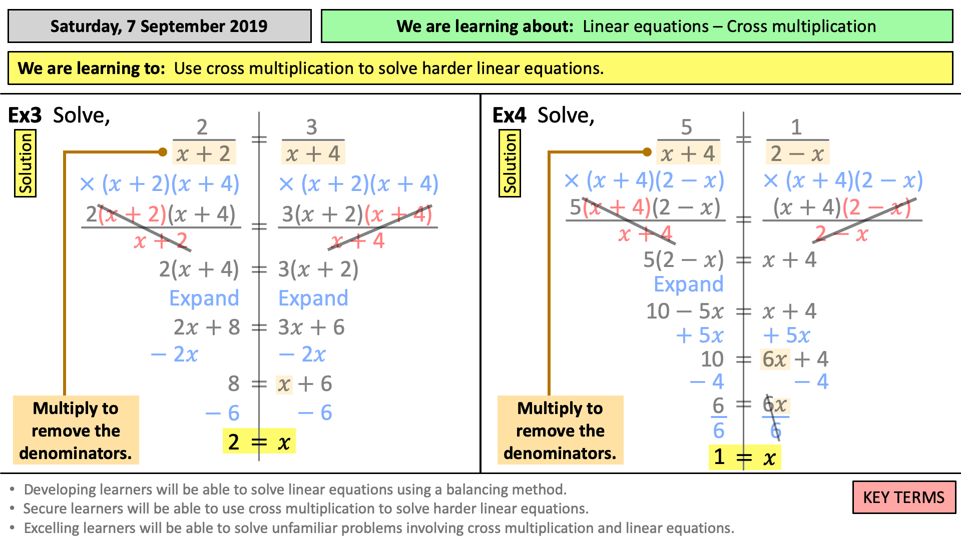 Solving equations - cross multiplication  Teaching Resources For Solving Linear Equations Worksheet Pdf