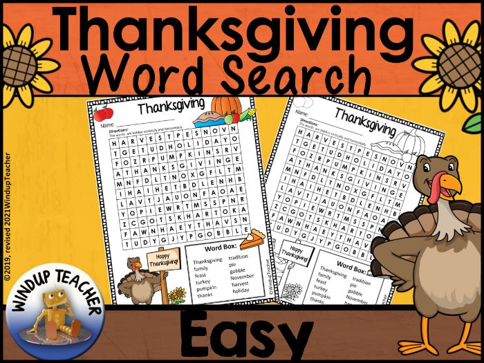 Thanksgiving Word Search | EASY Puzzle
