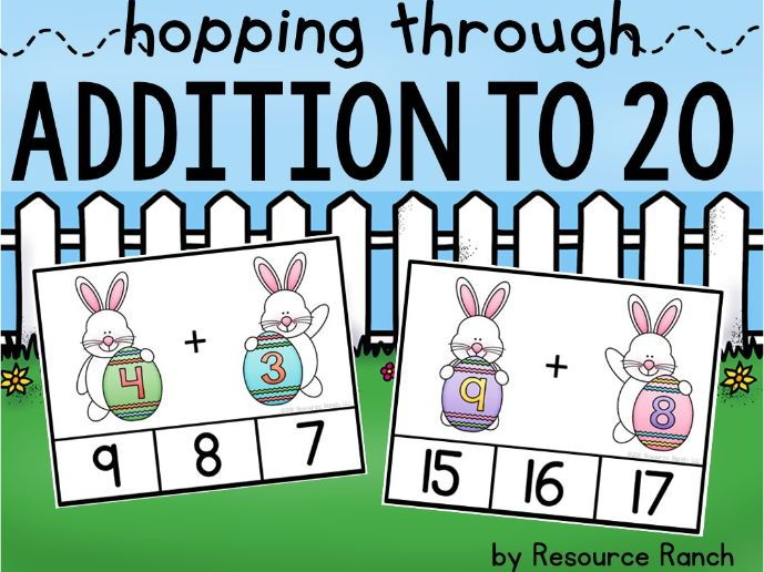 Easter Addition Clip Cards Hopping Through Addition to 20