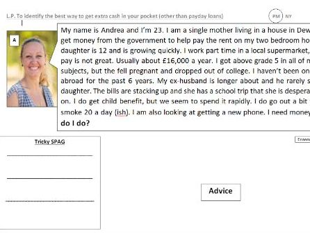 pay day loans money debt SMSC PSHCE PSE form advice RE living costs decision empathy making